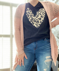 The Leopard Heart vneck tee