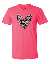 Load image into Gallery viewer, The Leopard Heart vneck tee