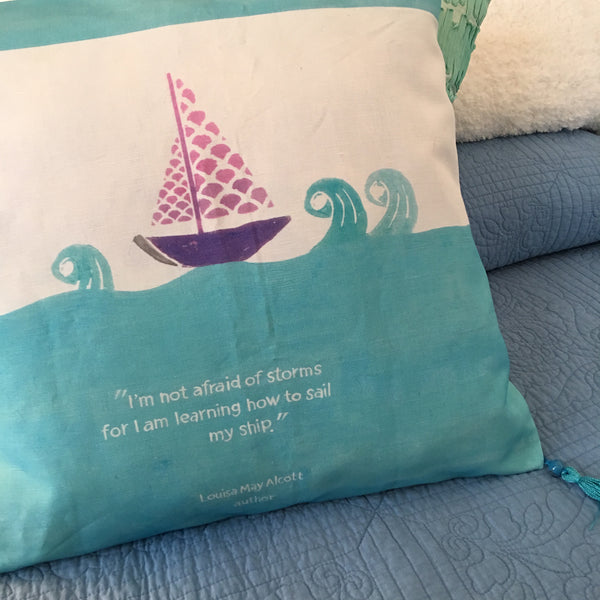 Louisa May Alcott Quote Pillow