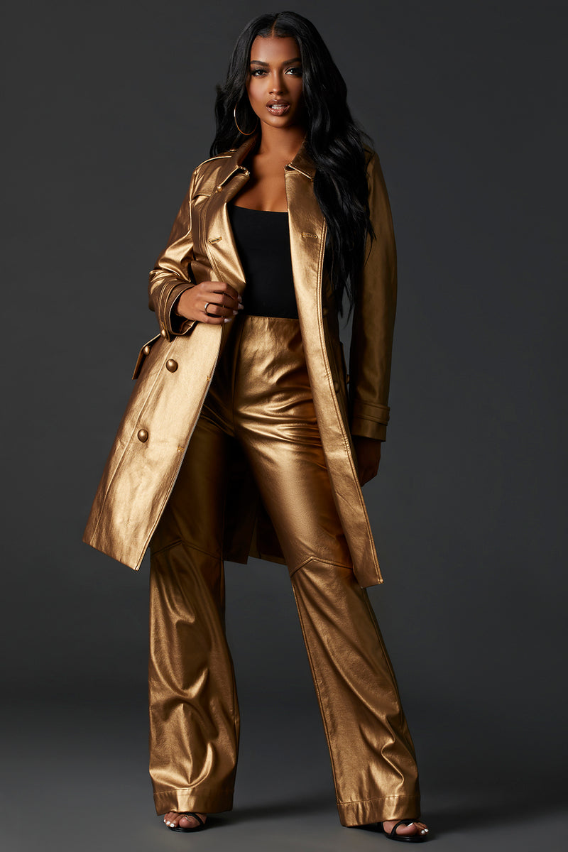 Gold High Waist Vegan Leather Pant