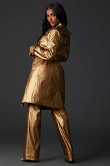 Gold Vegan Leather Trench