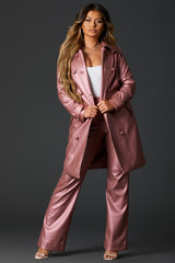 Pink High Waist Vegan Leather Pant