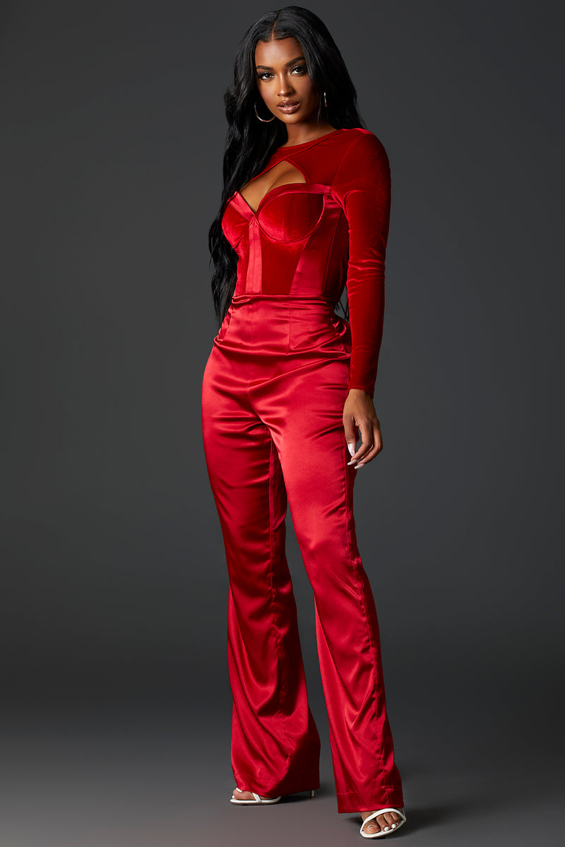 Red Bustier Top Jumpsuit