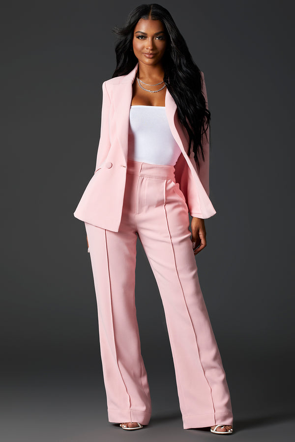 Baby Pink Tailored Suit Pants