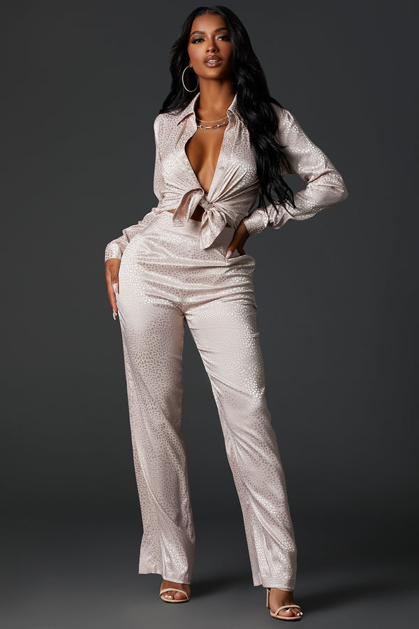 Ivory Satin Stretch Pants