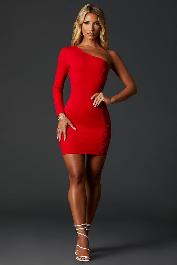 The Kye Red One Sleeve Dress