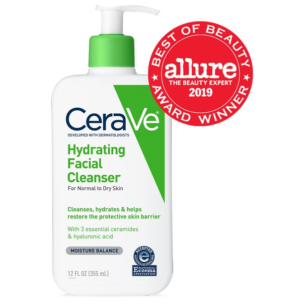 CeraVe Hydrating Facial Cleanser, Daily Face Wash for Normal to Dry Skin, 12 oz
