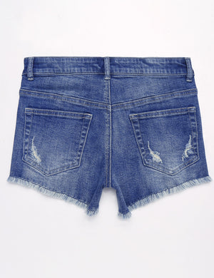 Mid-Rise Cutoff Denim Shorts