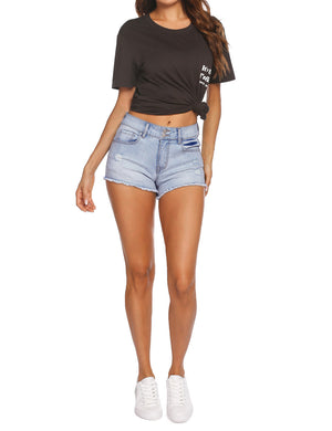 Light Wash Stretch Denim Shorts
