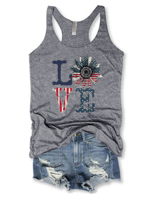 Love Sunflower American Flag Tank Top