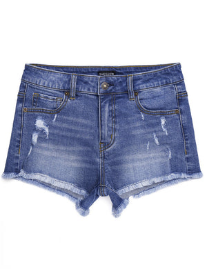 Mid-Rise Stretch Denim Shorts