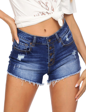 Button Fly Stretch Denim Shorts