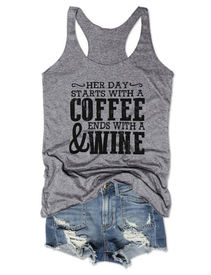 Her Day Starts With A Coffee Tank Top