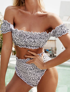 Off Shoulder Bandeau High Waist Bikini