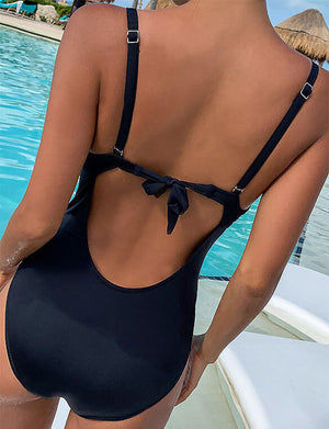 Push Up Strap V-Neck One Piece Swimsuit