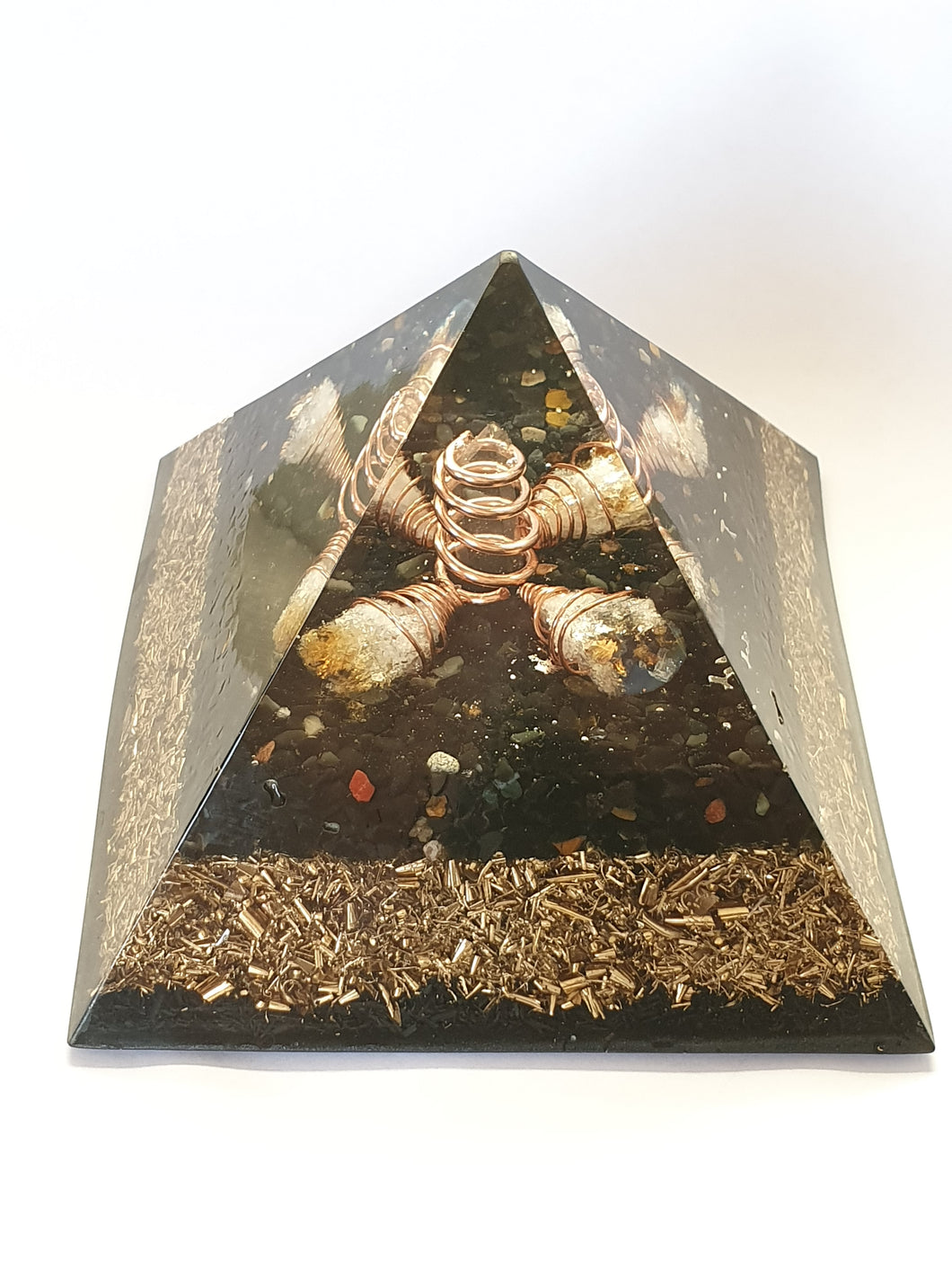 Black Tourmaline, Clear Quartz Orgone Pyramid large