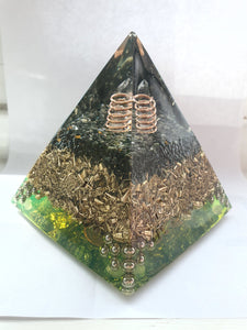 Black Obsidian and Clear Quartz Orgone Pyramid