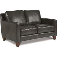 ARCHER LEATHER STATIONARY LOVESEAT - GREY