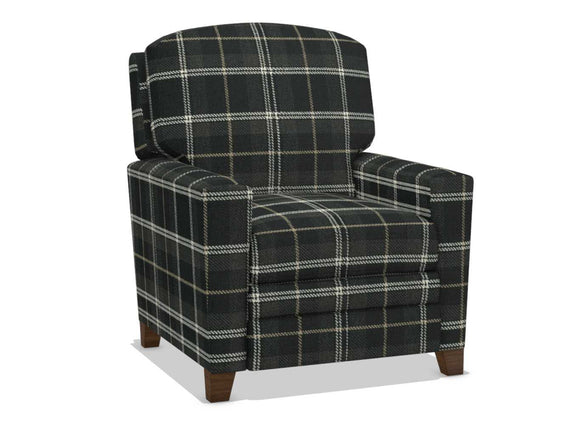CABOT FABRIC PUSH BACK RECLINER - BLACK/WHITE PLAID