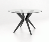 CANADEL DOWNTOWN ROUND DINING SET - GLASS TOP/ GREY