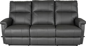 ETHAN Reclining Sofa w/ Drop Down Table - Black Leather