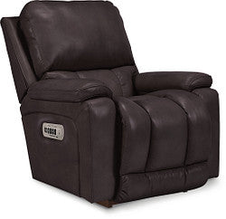GREYSON LEATHER POWER ROCKER RECLINER - DARK GREY
