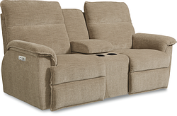 JAY FABRIC LOVESEAT W/ CONSOLE - BROWN