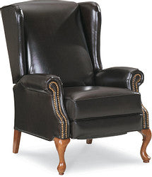 JENNINGS LEATHER HIGH LEG RECLINER - BURGUNDY