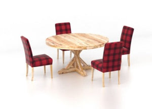 CANADEL ROUND LOFT TABLE AND SIX RED PLAID DINNING CHAIRS