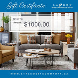 La-Z-Boy Home Furnishings & Décor Gift Certificates