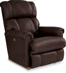 PINNACLE LEATHER ROCKER RECLINER WITH LUMBAR AND HEADREST - BROWN