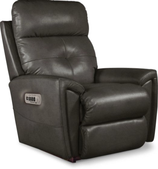 DOUGLAS LEATHER POWER ROCKER RECLINER W/ HEADREST AND LUMBAR - CREAM