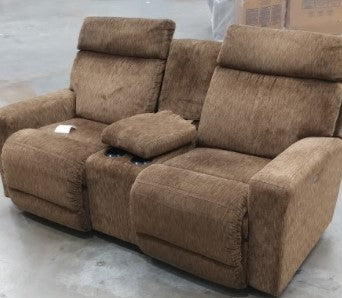 JAX POWER FABIC RECLINING LOVESEAT W/ CONSOLE - BROWN