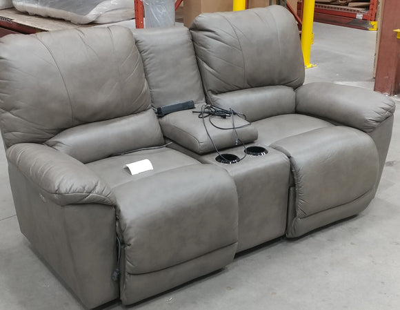 TYLER FABRIC POWER RECLINING LOVESEAT W/ CONSOLE - GREY