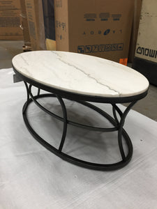 HAMMARY MARBLE OVAL TOP COCKTAIL TABLE