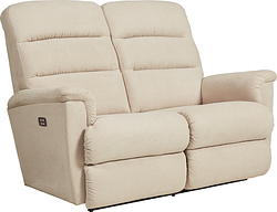 TRIPOLI LEATHER POWER LOVESEAT WITH HEADREST AND LUMBAR - GREY