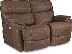 TROUPER FABRIC POWER RECLINING LOVESEAT WITH HEADREST - SABLE (GREY/TAUPE)