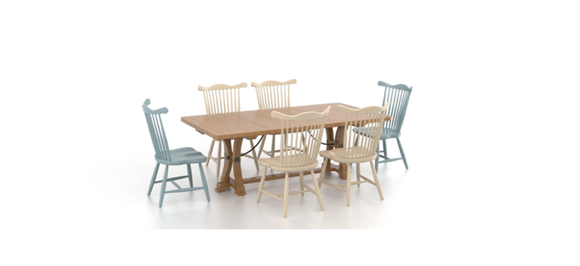 CANADEL FARMHOUSE DINING TABLE & 6 CHAIRS