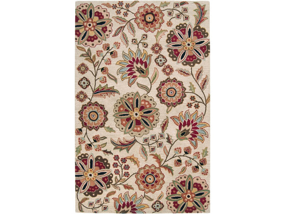 SURYA ATHENA BEIGE/RED MULTI AREA RUGS - 5' x 8'