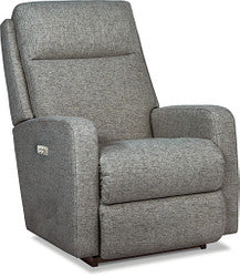 FINLEY FABRIC POWER ROCKER RECLINER WITH POWER LUMBAR AND HEADREST - SMOKE