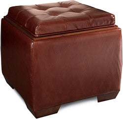 LEO FAUX LEATHER OTTOMAN - RED