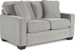 MEYER FABRIC STATIONARY LOVESEAT - LIGHT GREY