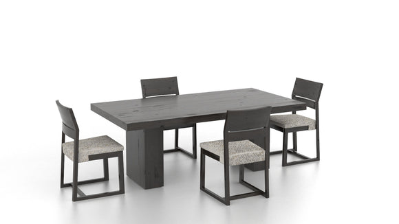 CANADEL LOFT DINING SET W/ BENCH - GREY/ CREAM GREY MULTI