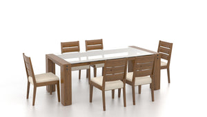 LOFT CUSTOM GLASS DINING SET - OAK/ WHITE LEATHER
