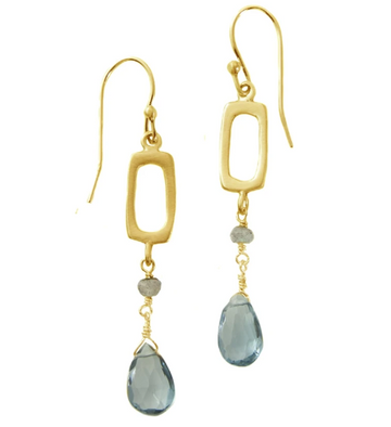 Rectangle Labradorite & Topaz Earrings