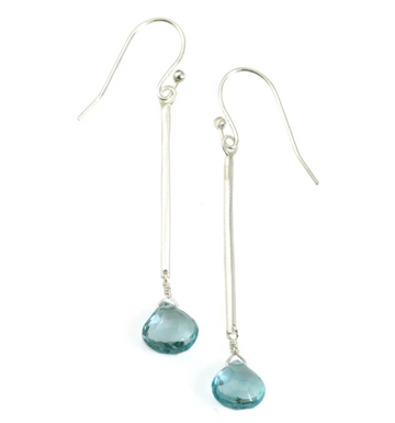Blue Topaz Stick Earrings