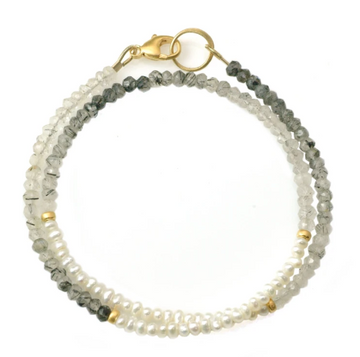 Tourmalated Quartz & Pearl Bracelet
