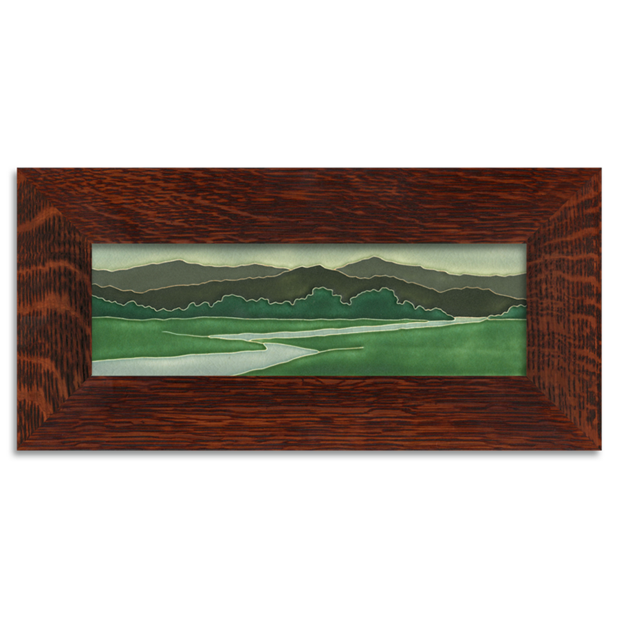 Riverscape-Framed Ceramic Tile