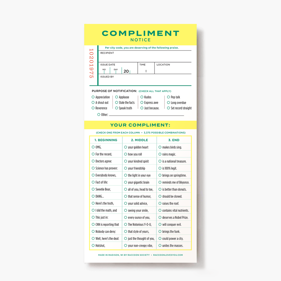 Compliments Ticket Pad