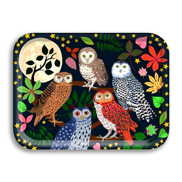 Night Owls Small Birchwood Tray